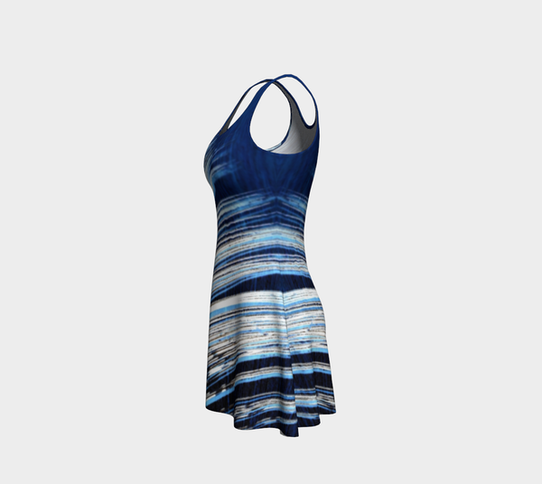Blue and White Feather Flare Dress - Tru-Artwear.ca
