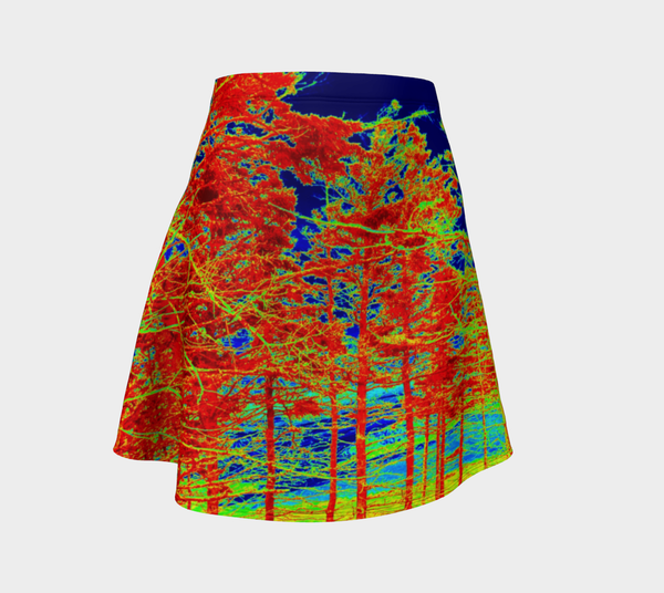 Red Trees Canada Flare Skirt - Trū Canadian ArtWear by Nadia Bonello