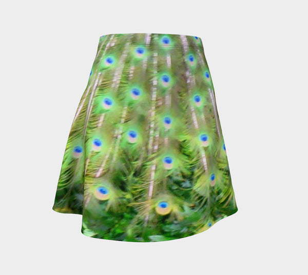 '1. Peacock Feathers' Flare Skirt - Tru-Artwear.ca