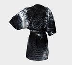 Black & White Feather Chiffon Kimono Robe |  Loungewear | Beachwear | Lingerie Robe - Tru-Artwear.ca