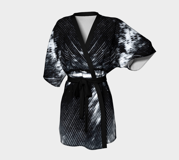 Black & White Feather Chiffon Kimono Robe - Tru-Artwear.ca