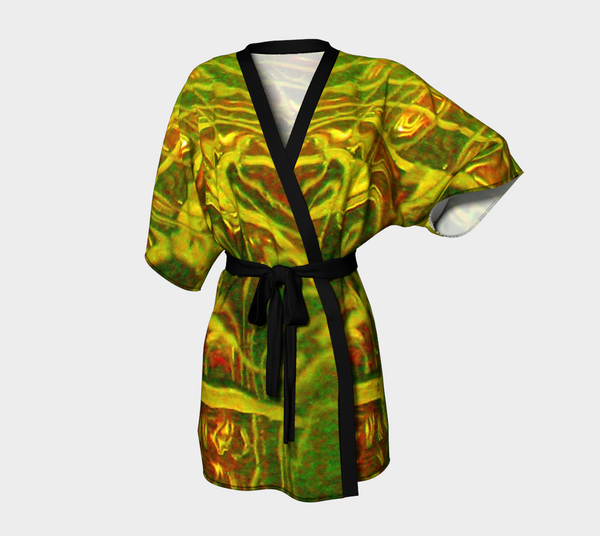 4. Abstract Water Chiffon Kimono Robe |  Loungewear | Beachwear | Lingerie Robe - Tru-Artwear.ca