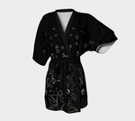 Flowers at Midnight Chiffon Kimono Cardigan |  Loungewear | Beachwear - Tru-Artwear.ca