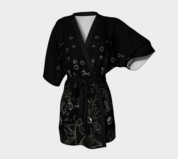 Flowers at Midnight Chiffon Kimono Robe - Tru-Artwear.ca