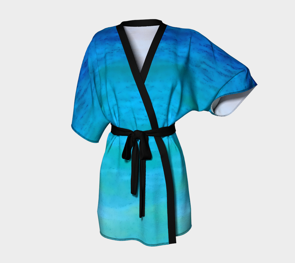 2. Blue Water Colours Chiffon Kimono Robe |  Loungewear | Beachwear | Lingerie Robe - Tru-Artwear.ca