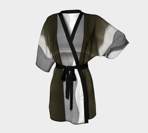 Abstract Shadows Chiffon Kimono Robe |  Loungewear | Beachwear | Lingerie Robe - Tru-Artwear.ca