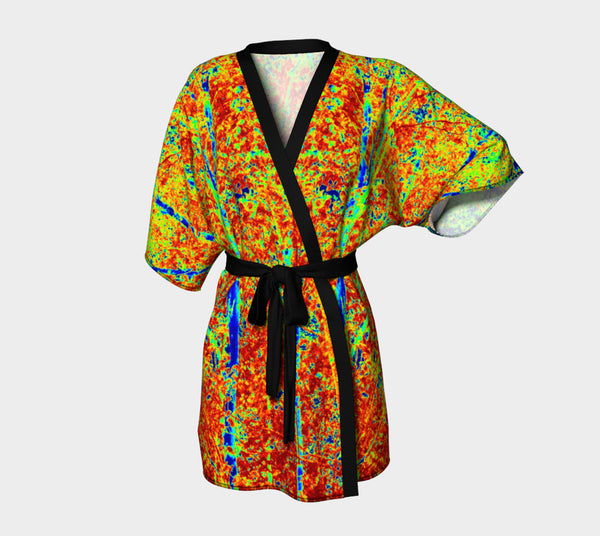 Fall Leaves Abstract Kimono Robe