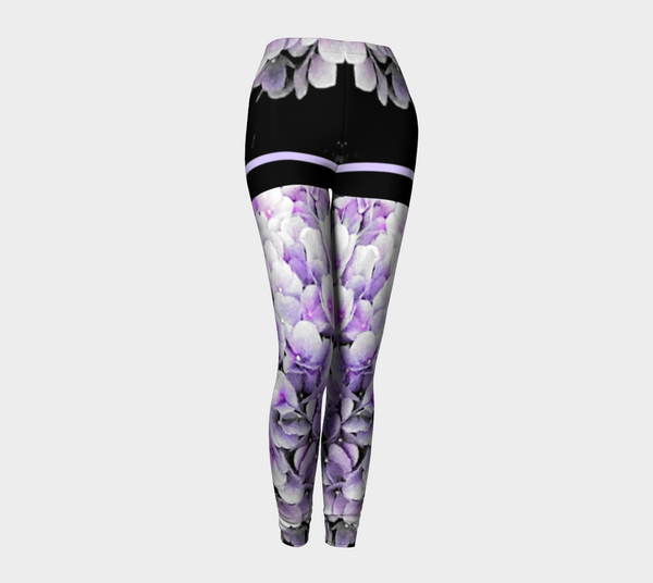 Purple Hydrangea Tattoo Shorties Leggings - Trū Canadian ArtWear by Nadia Bonello