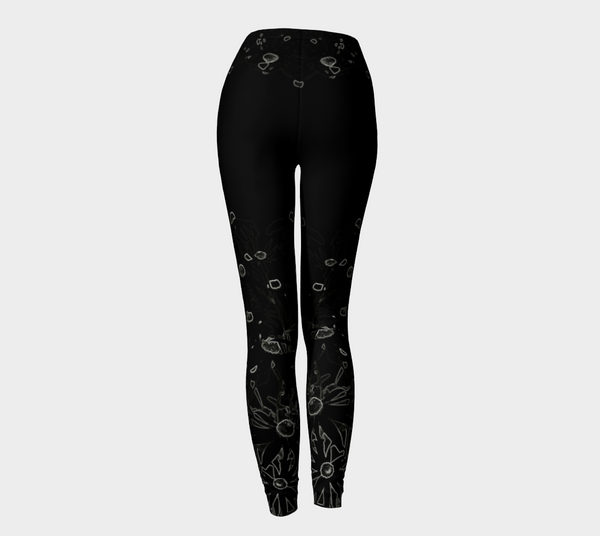 'Flowers at Midnight' Leggings (Burlesque /Goddess) - Tru-Artwear.ca