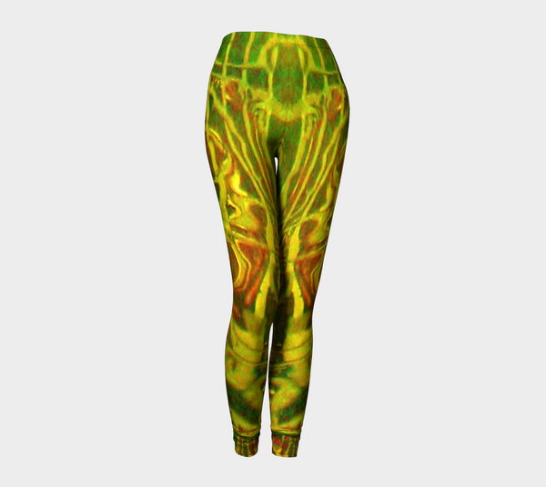 Green Red Water Butterfly Leggings - Trū Canadian ArtWear by Nadia Bonello