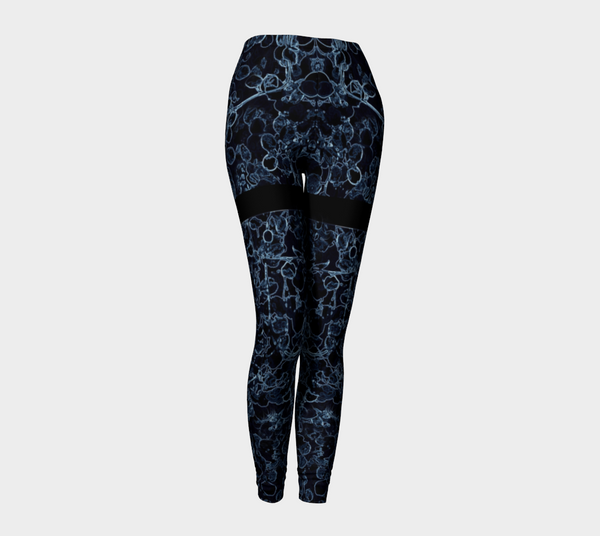 'Blue Vine Pin-up Girl' Leggings (Burlesque Series) - Tru-Artwear.ca