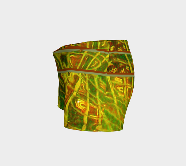 2 - Green Red Water Abstract Shorts - Tru-Artwear.ca