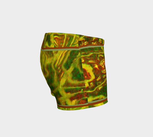 2 - Green Red Water Abstract Shorts No.2 - Tru-Artwear.ca