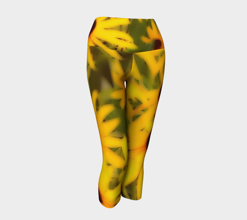 Garden of Black-Eyed Susans Yoga Capris - Tru-Artwear.ca