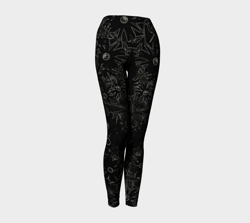1 YL - Flowers at Midnight Yoga Leggings - Tru-Artwear.ca