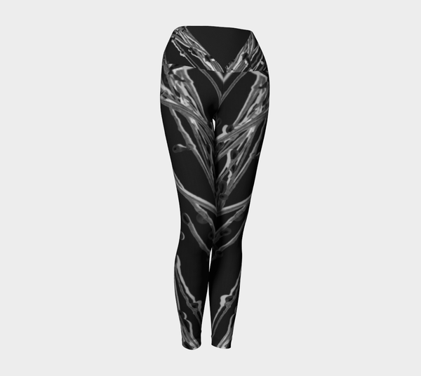 1 YL - Black Grasses Yoga Leggings No.1 - Tru-Artwear.ca