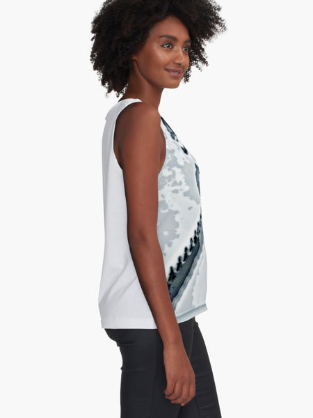 Blue Grey Dragonfly Sleeveless Top - Tru-Artwear.ca