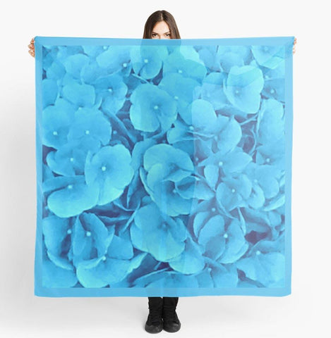 Beach Scarf Wrap | Scarf | Limited Edition: 'Sky Blue Flowers' Travel Wear Scarf - Tru-Artwear.ca