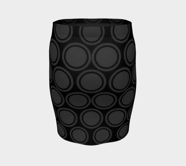 Black and Grey Circles Fitted Skirt - Tru-Artwear.ca