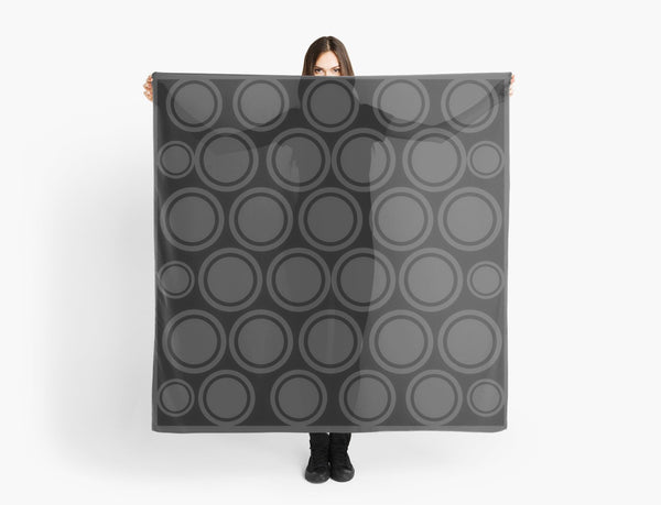 Black and Grey Circles Beach Coverup & Travel Scarf - Tru-Artwear.ca