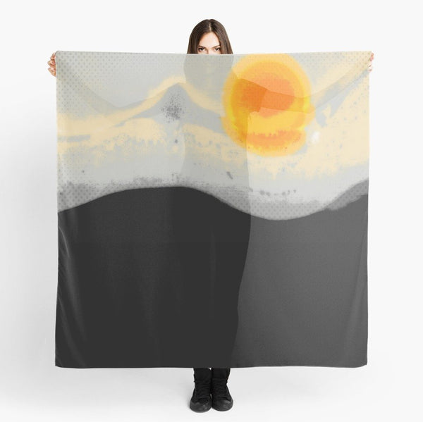 Beach Scarf Cover-ups | Scarf | Limited Edition: 'Bright Sunset' Travel Wear Scarf - Tru-Artwear.ca