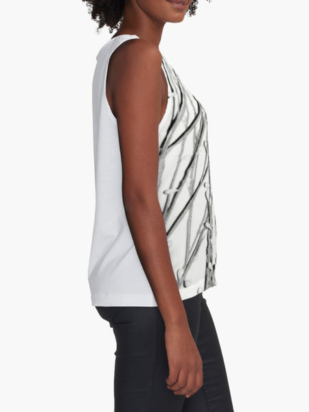 White Pearl Grass Limited Edition Sleeveless Top - Tru-Artwear.ca
