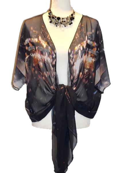 '1. Urban Reflection' Draped Fashion Cardigan - Tru-Artwear.ca