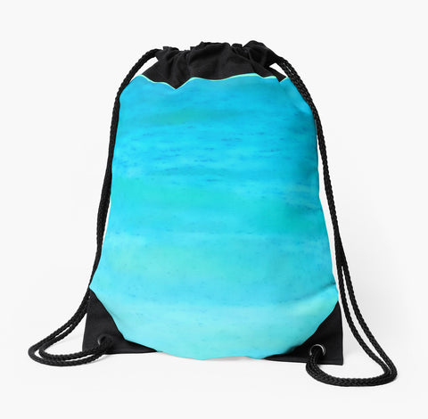 "Turquoise ""Water Colours"" Drawstring Beach Bag by tru-artwear.ca"