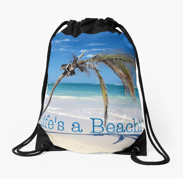'Life's a Beach' Drawstring Beach Bag - Tru-Artwear.ca