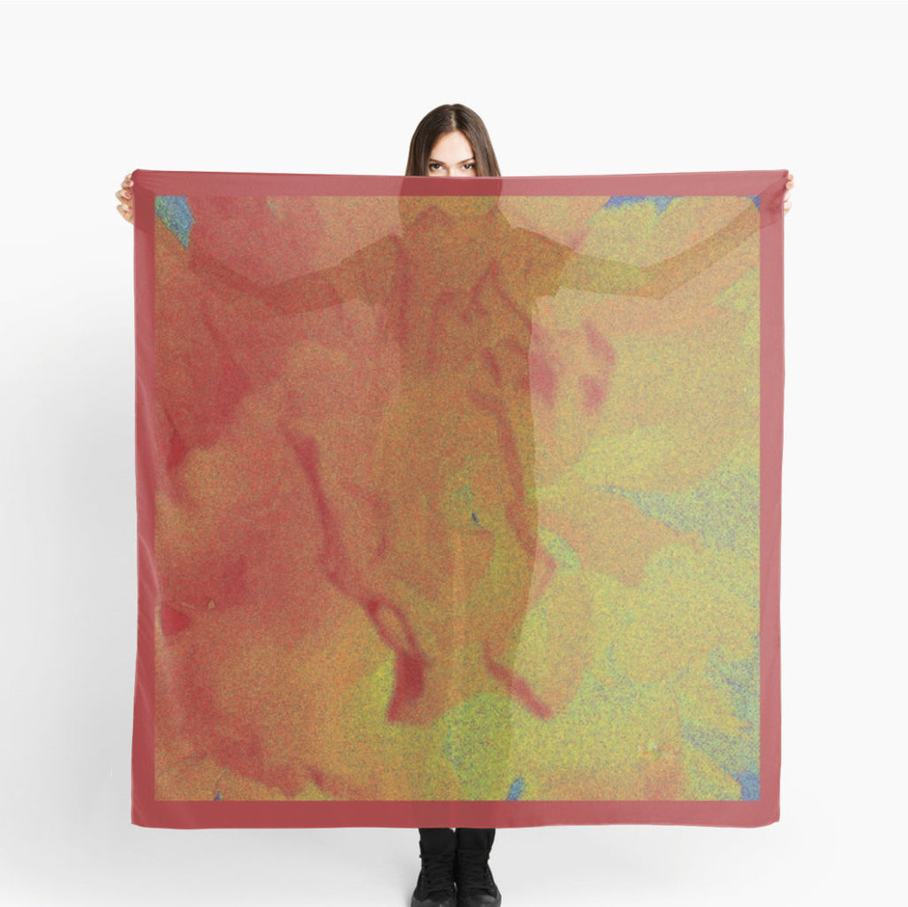 '1. Scarves | Beach Cover-ups | Limited Edition: Red Orange Abstract Flower' Fashion Scarf - Tru-Artwear.ca