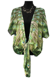 'Peacock Feathers' Draped Kimono Cardigan - Tru-Artwear.ca