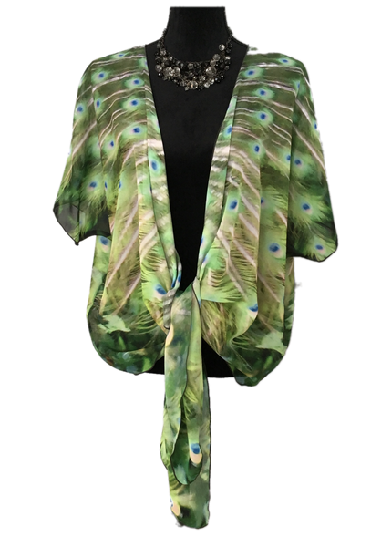 1. 'Peacock Feathers No.3' Draped Fashion Cardigan - Tru-Artwear.ca