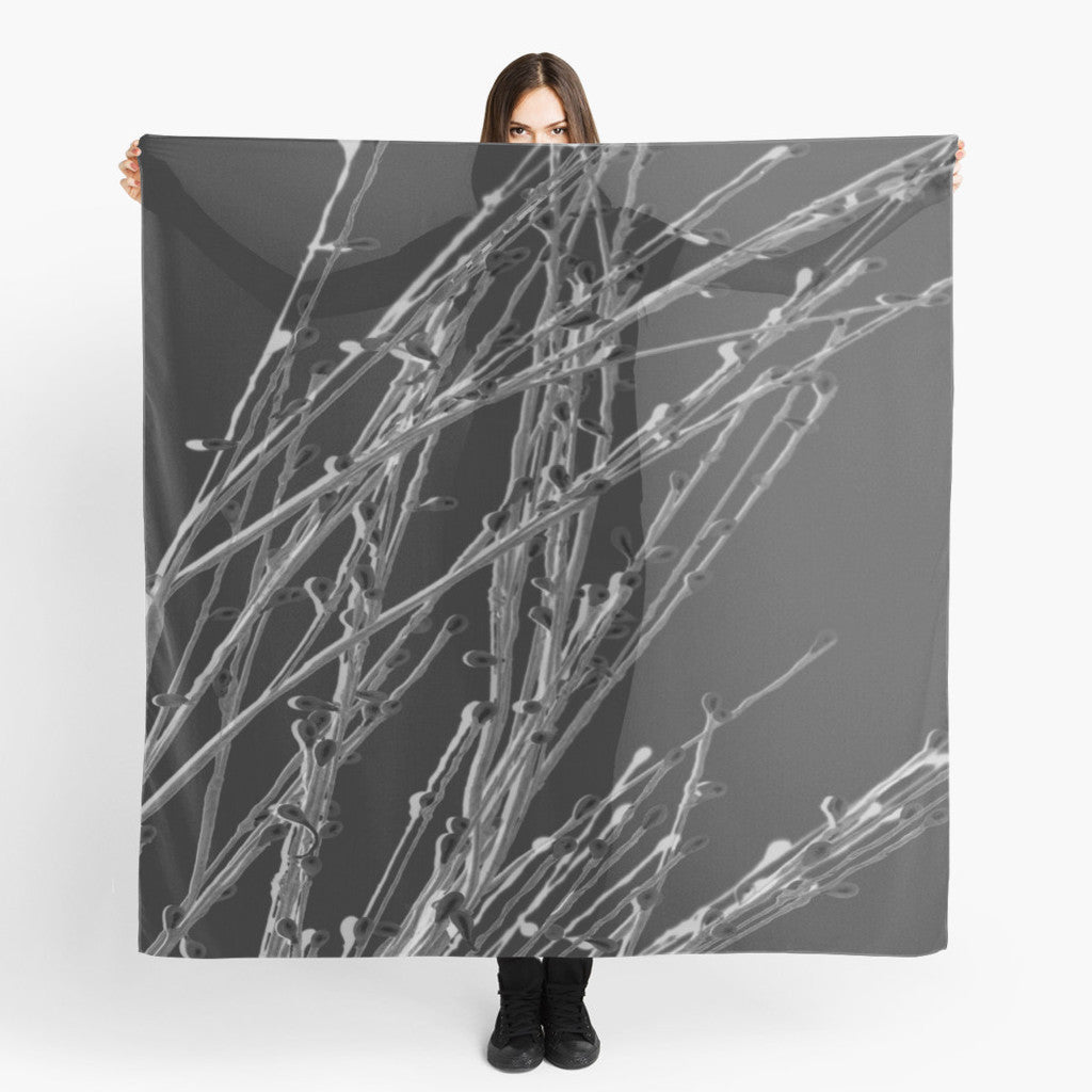 Beach Wrap | Limited Edition: 'Black Grasses' Fashion Scarf - Tru-Artwear.ca