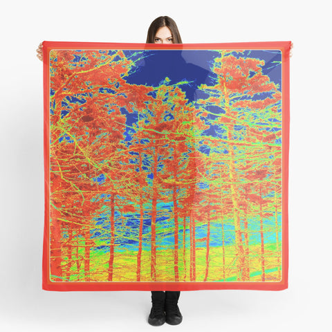 Beach Coverups | Limited Edition: 'Red Trees Canada' Beachwear Scarf - Tru-Artwear.ca