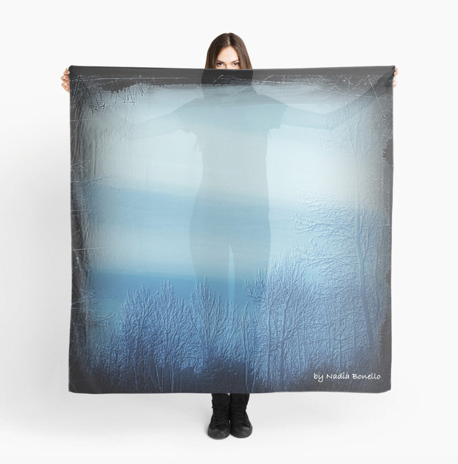 Scarves | Beach Cover-ups | Limited Edition: 'Bleu Noir Dusk' Fashion Scarf - Tru-Artwear.ca
