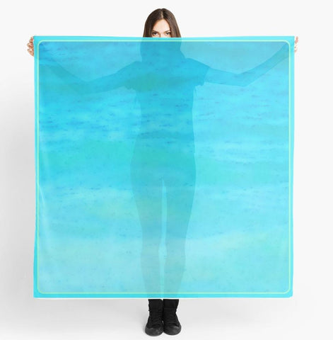 Beach Scarf , Cover-ups - Limited Edition: 'Water Colours' Beach Fashion Scarf - Tru-Artwear.ca
