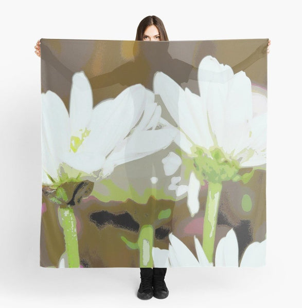 Scarves | Beach Scarf Cover-ups | Limited Edition: 'White Daisies' Travel Wear Scarf