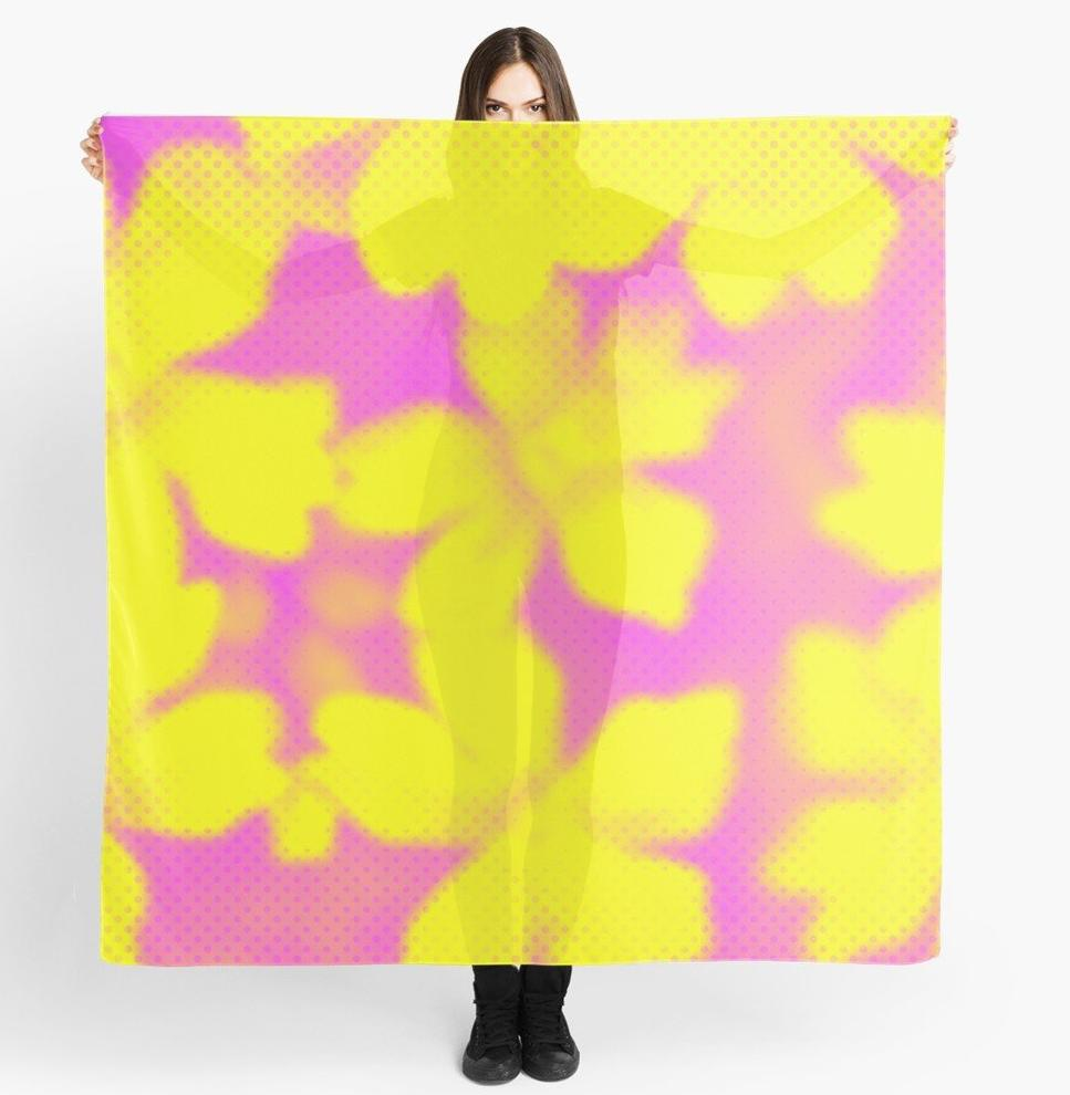 Scarves | Beach Scarf Cover-ups | Limited Edition: 'Happy Yellow Flowers' Travel Wear Scarf***