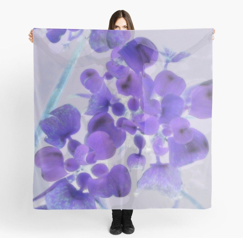 Scarves | Beach Scarf Cover-ups | Limited Edition: 'Purple Water Plant' Travel Wear Scarf