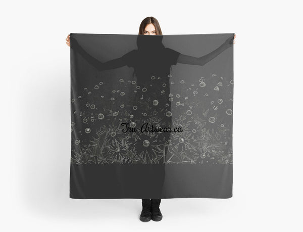 1. Scarves | Beach Cover-ups | Limited Edition: 'Flowers at Midnight' Fashion & Travel Scarf - Tru-Artwear.ca