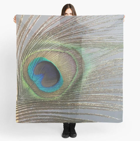 Feather Beach Wrap |'Peacock Feather' Travel Scarf - Tru-Artwear.ca