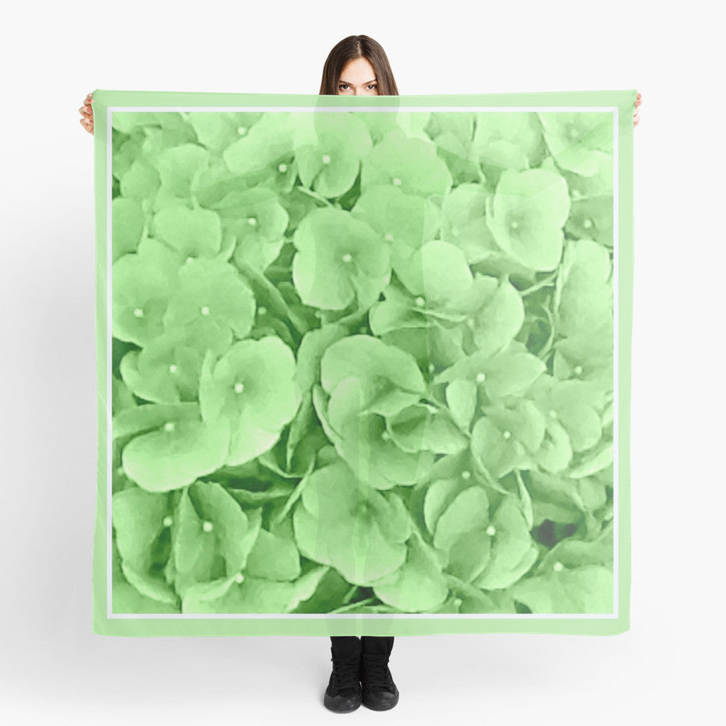 'Hydrangea Greenery' Fashion Scarf - Tru-Artwear.ca