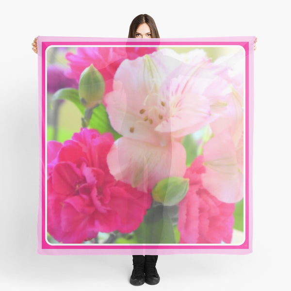 1 - Scarves | Beach Cover-ups | Limited Edition: 'Pink Flower Burst' Fashion Scarf - Tru-Artwear.ca