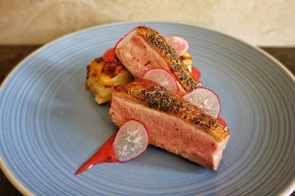 Pan Roasted Duck Breast with Plum Purée and Pommes Anna