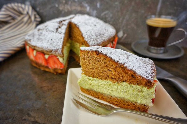 Ginger Cake with Pistachio Mousse and Strawberries