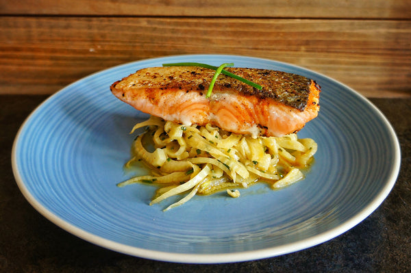 Pan-Fried Salmon with Lemon Braised Fennel and Dill
