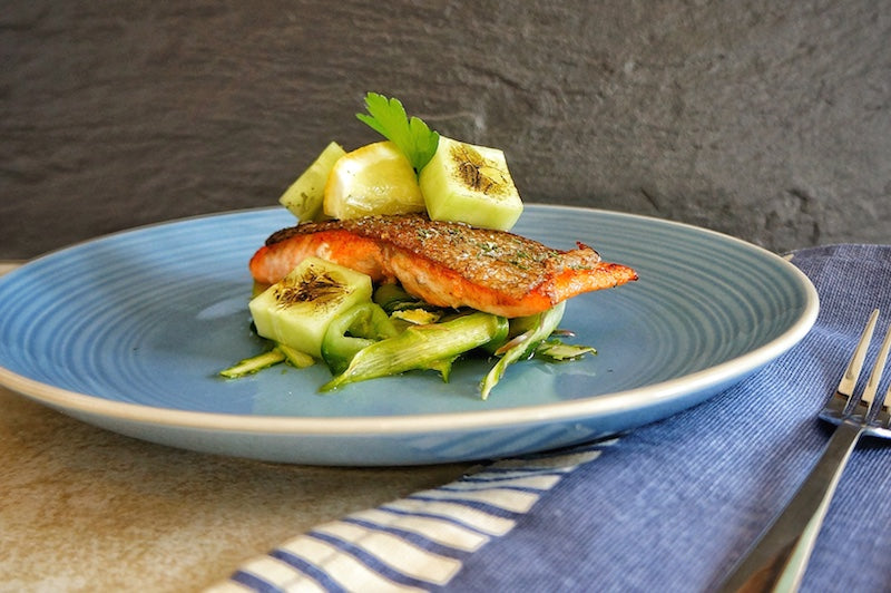 Sea Trout with pickled Cucumber and Asparagus