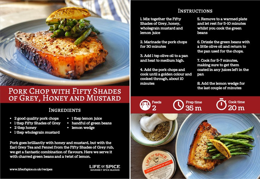 Pork Chop with Fifty Shades of Grey, Honey and Mustard