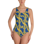 Money One-Piece Swimsuit BLUE