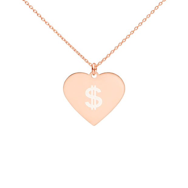 Love Money Engraved Silver Heart Necklace